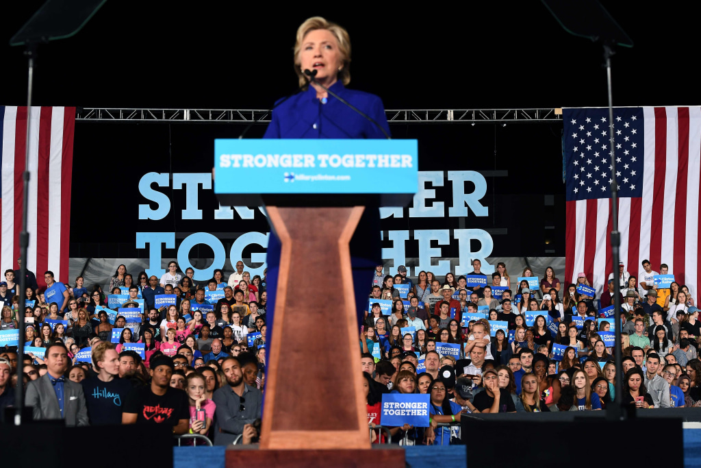 Image: Hillary Clinton believes Arizona could become a blue state on Tuesday.