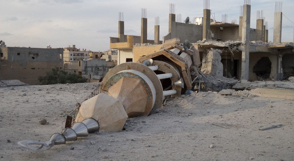 Image: A 2014 file photo of a minaret destroyed in air strikes by Syrian army  warplanes in Raqqa, Syria.