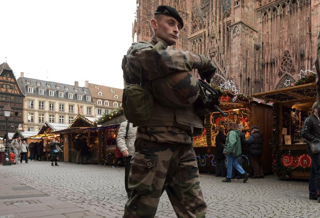 Image: A French soldier patrols in Strasbourg
