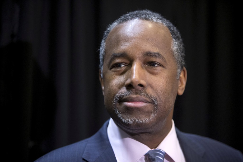 Image: File picture of Ben Carson listening to a question from a reporter during a campaign stop in Las Vegas