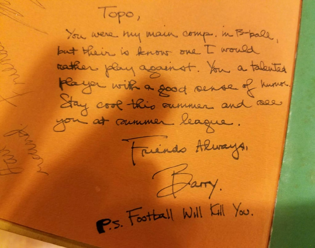 Image:  Yearbook note Obama left for classmate Tom Topolinski when they graduated in 1979 from the Punahou school.