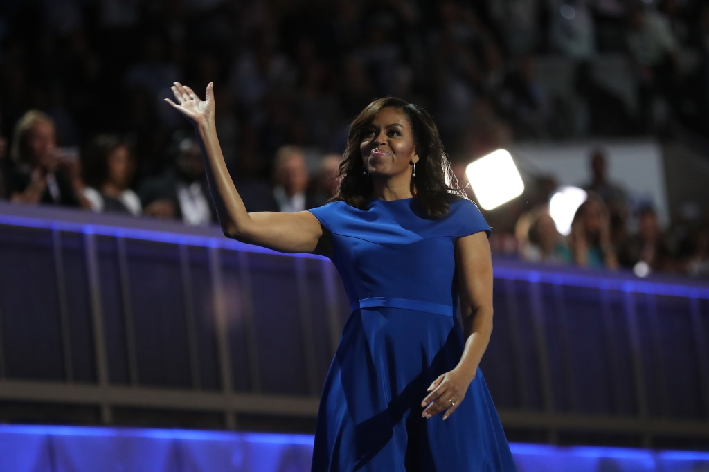 Image: First lady Michelle Obama acknowledges the crowd after delivering remarks on the first day of the Democratic National Convention at the Wells Fargo Center, July 25, 2016 in Philadelphia, Pa.