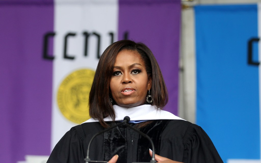 Image: First Lady Michelle Obama receives an honorary degree and gives the commencement speech at The City College of New York on June 3, 2016 in New York City.
