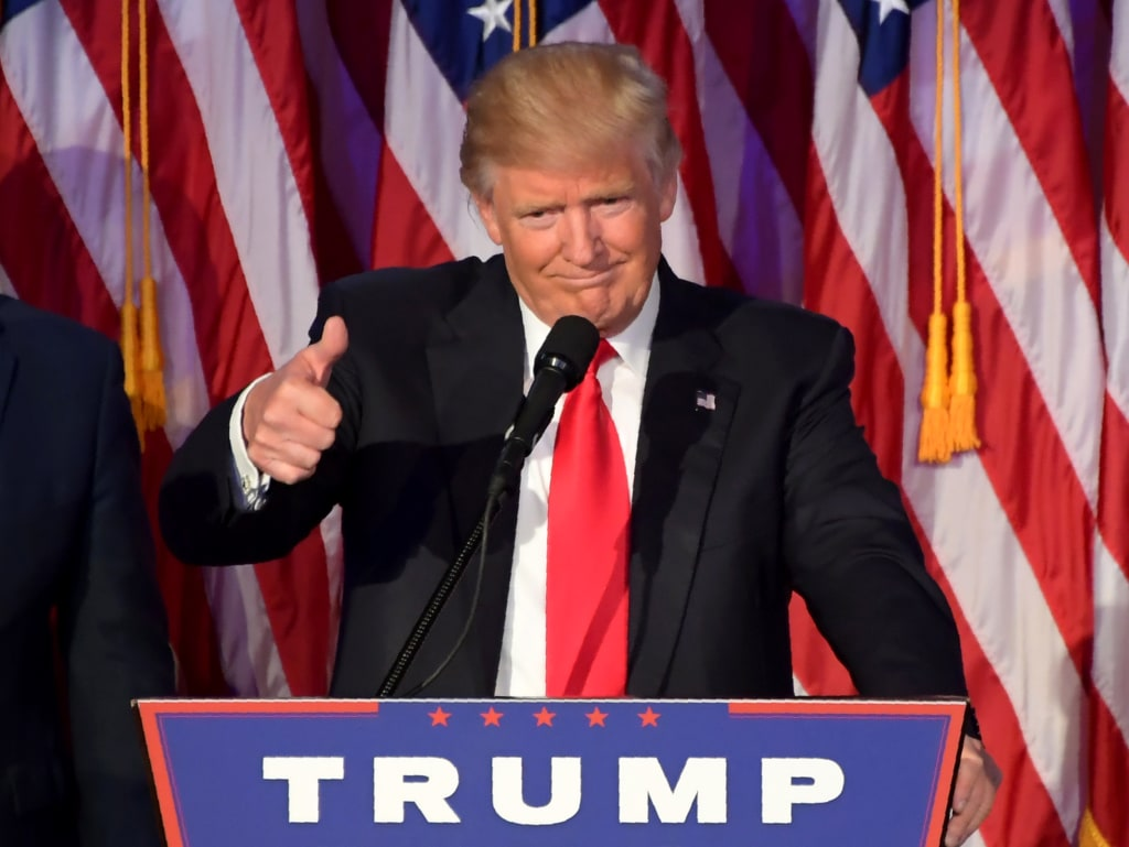Image: Then-Republican presidential nominee Donald Trump gives a speech during election night at the New York Hilton Midtown in New York on Nov. 8, 2016.
