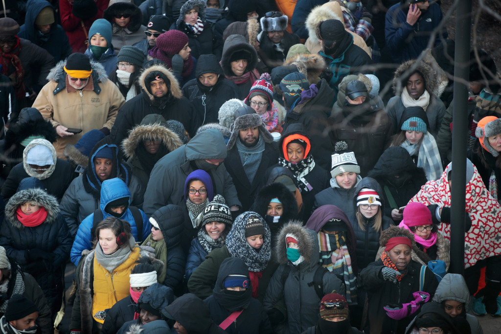 Image: People Line Up For Tickets To Attend President Obama's Farewell Address