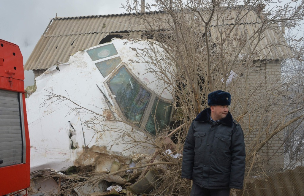 Image: A Turkish cargo plane crashed into a village near Kyrgyzstan's main airport