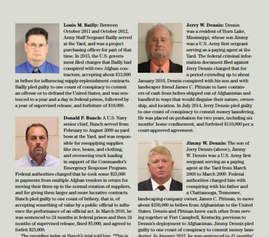 """Image: The new quarterly SIGAR report contains a """"gallery of greed"""" highlighting fraud cases"""