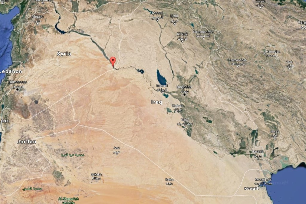 Image: Map shows location of Iraqi airstrikes targeting ISIS in Syria