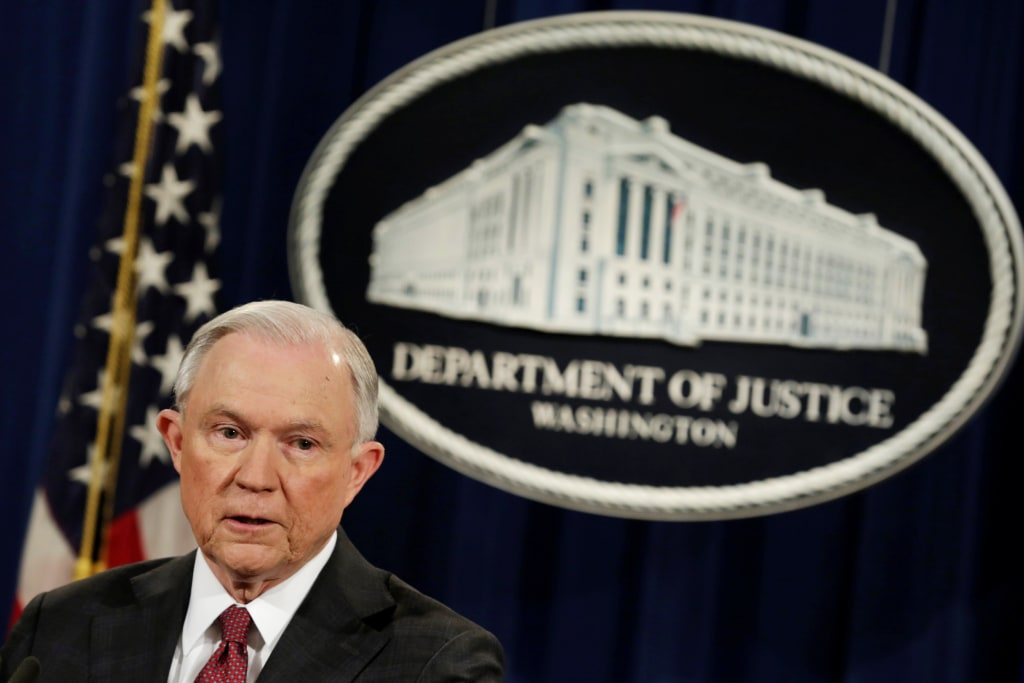 Image: Attorney General Jeff Sessions speaks at a news conference in Washington