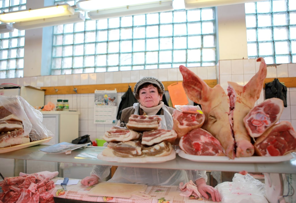 Image: A local butcher in Rezekne's market