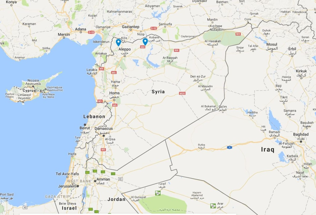 Image: Map showing the locations of Afrin (pin on left) and Manbij in northern Syria