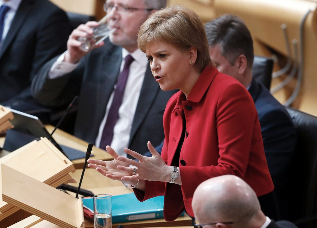 Image: Scotland's First Minister Nicola Sturgeon speaks in the chamber
