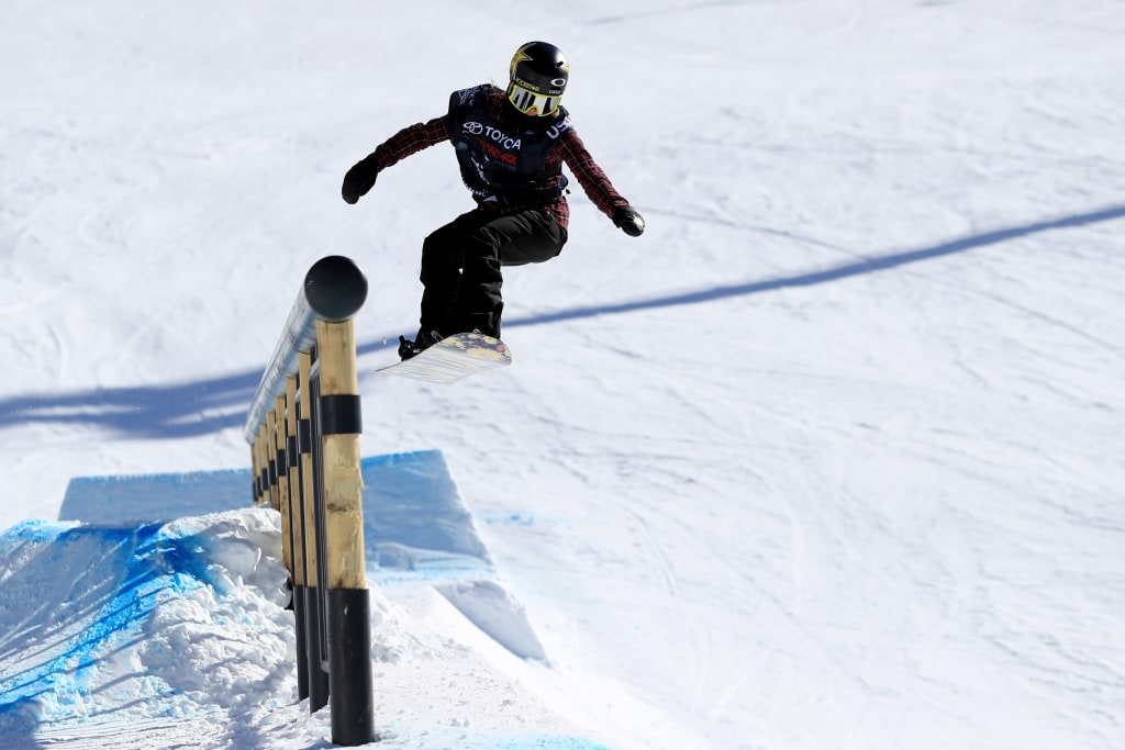 Image: Hailey Langland takes a practice run during the FIS Snowboard World Cup 2017 Ladies' Snowboard Slopestyle during the Toyota U.S. Grand Prix at Mammoth Mountain on Jan. 31, 2017 in Mammoth, California.