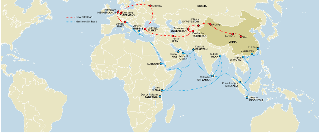 "Image: Graphic showing the proposed new ""Silk Road"""