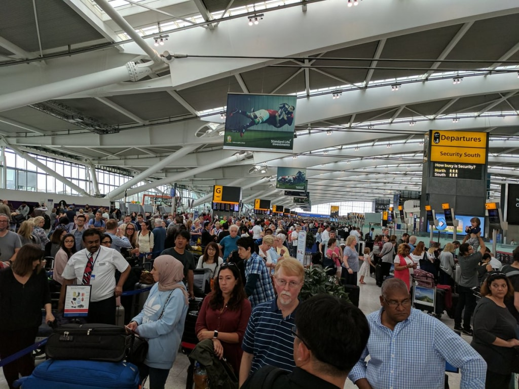 Image: There were long check-in lines at Heathrow's Terminal 5 because of the British Airways computer systems failure.