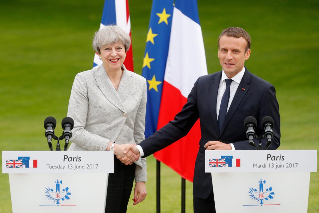 Image: Emmanuel Macron and Theresa May