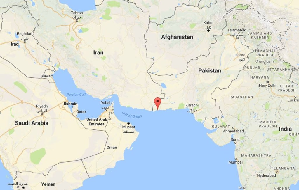 Image: Map showing Gwadar, Pakistan