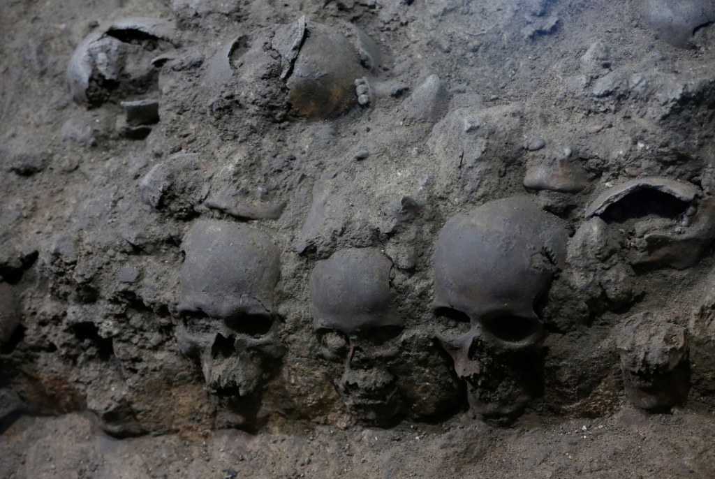 Image: Skulls are seen at a site near Templo Mayor, one of the main temples in the Aztec capital Tenochtitlan, which later became Mexico City
