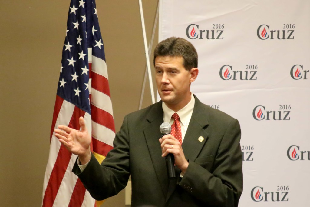 Image: Alabama Secretary of State, John Merrill, introduces Ted Cruz at the Shelby County Republican Party Southern Social, Aug. 9, 2015. The event was held at the Pelham Civic Center in Pelham Alabama.