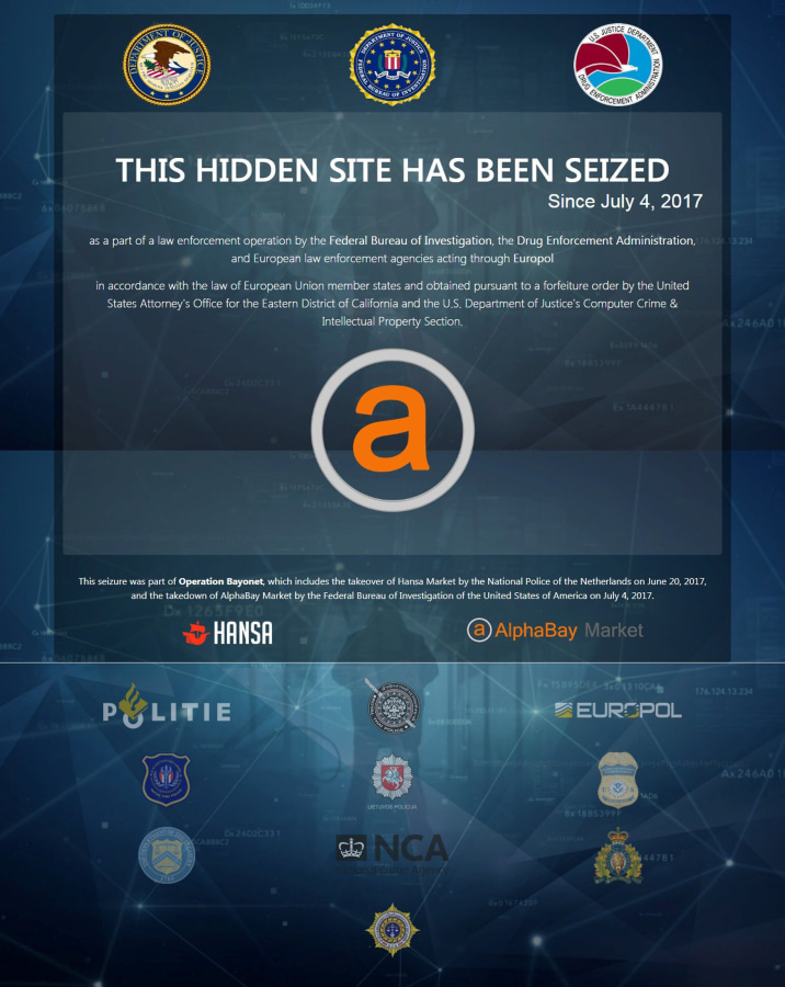 Image: U.S. Justice Department screen image after it had shut down the dark web marketplace AlphaBay