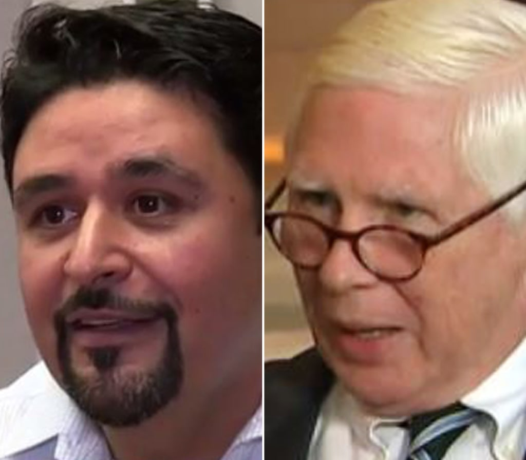 Former United Airlines employee Alejandro Anastasia, left, and 71-year-old Ronald Tigner