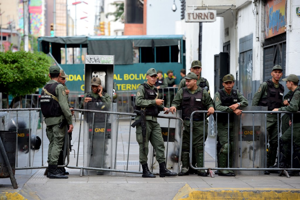 Image: Members of the National Guard are seen outside the Public Ministry in Caracas on Aug. 5, 2017.