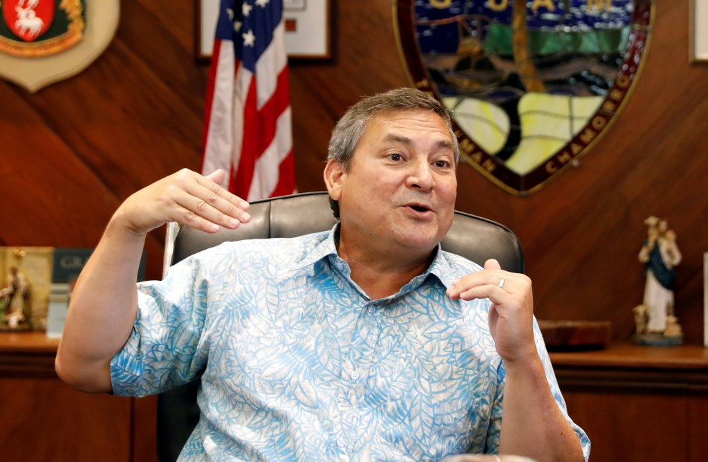Image: Guam Governor Eddie Calvo speaks during an interview with Reuters at the government complex on the island of Guam