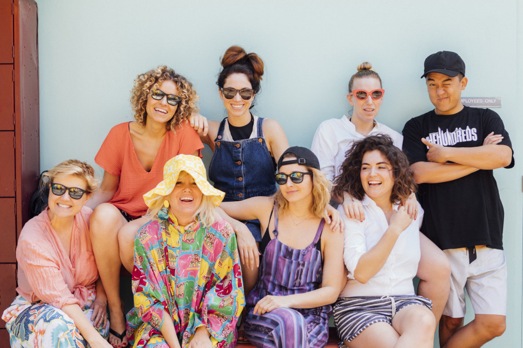 Ellen Bennett of Hedley & Bennett, Jeni Britton Bauer, Jen Gotch of Bando, Bobby Kim of The Hundreds and others pose for social influencer marketing campaign photo.
