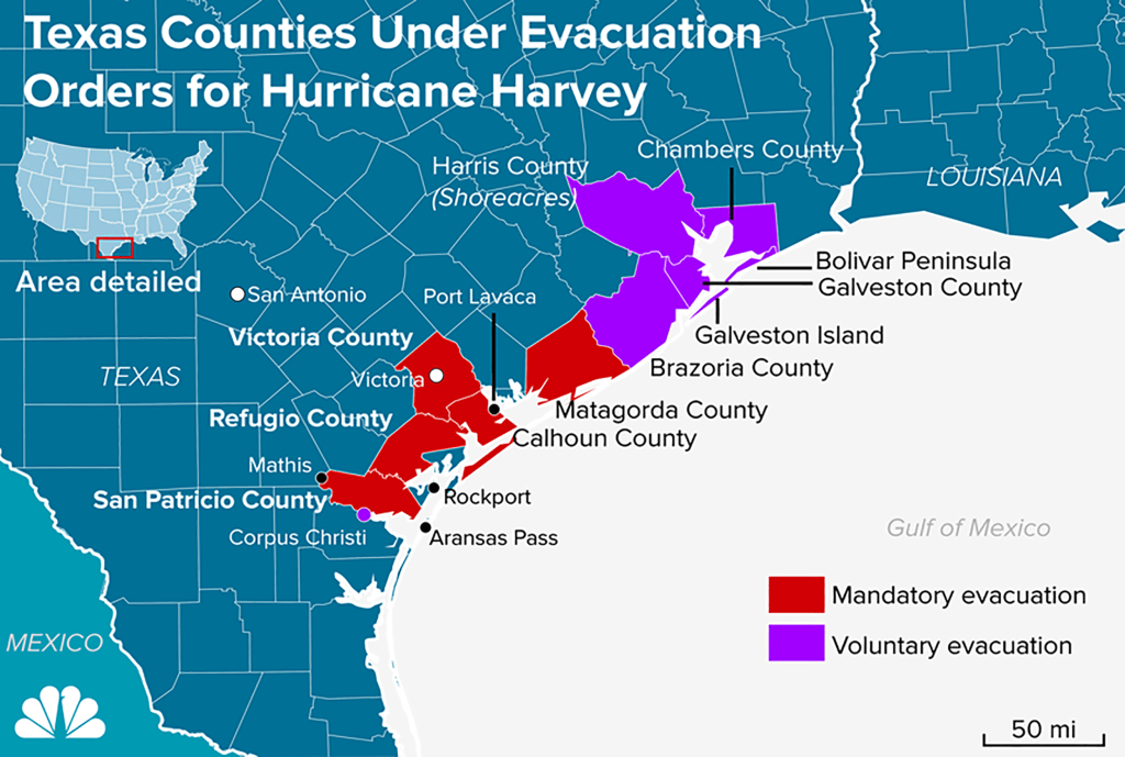 Image: Texas Counties Under Evacuation Orders for Hurricane Harvey