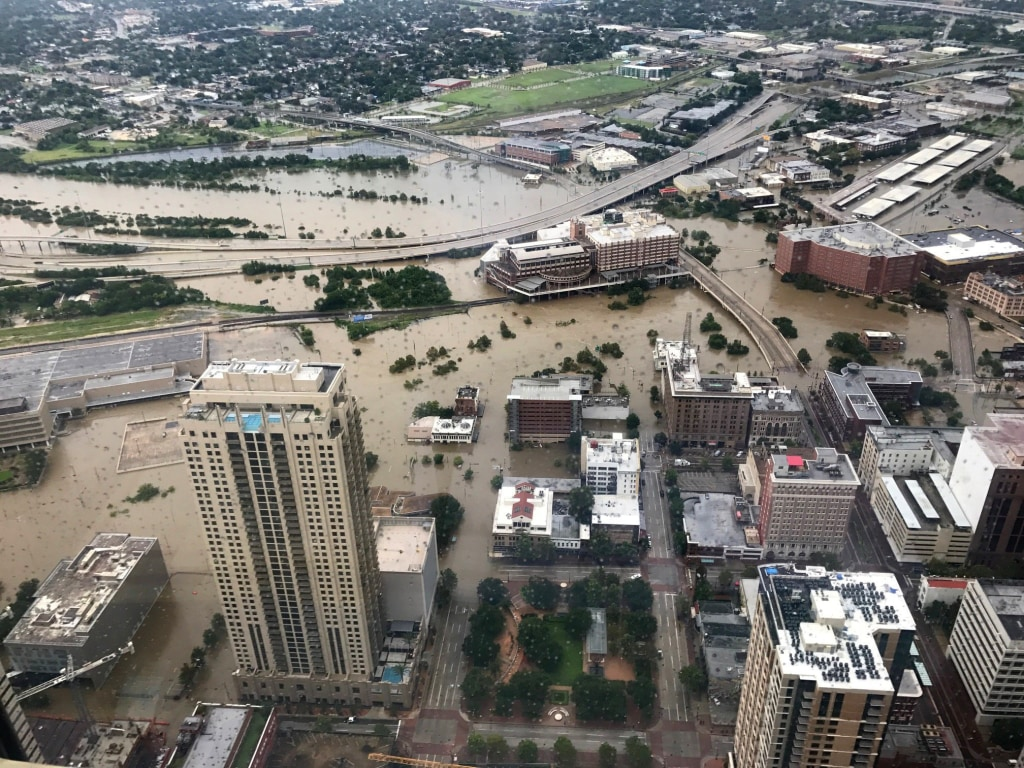 Image: Flooded downtown is seen from JP Morgan Chase Tower after Hurricane Harvey inundated the Texas Gulf coast with rain causing widespread flooding, in Houston
