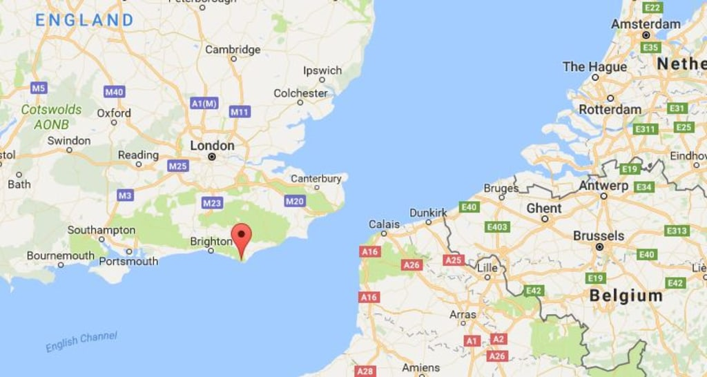 Image: A map showing the location of Birling Gap, England