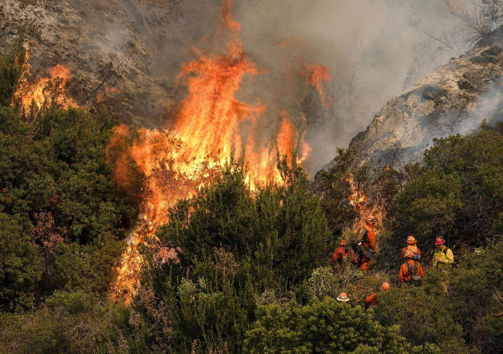 Image: A crew with California Department of Forestry and Fire Protection (Cal Fire) battles a brushfire