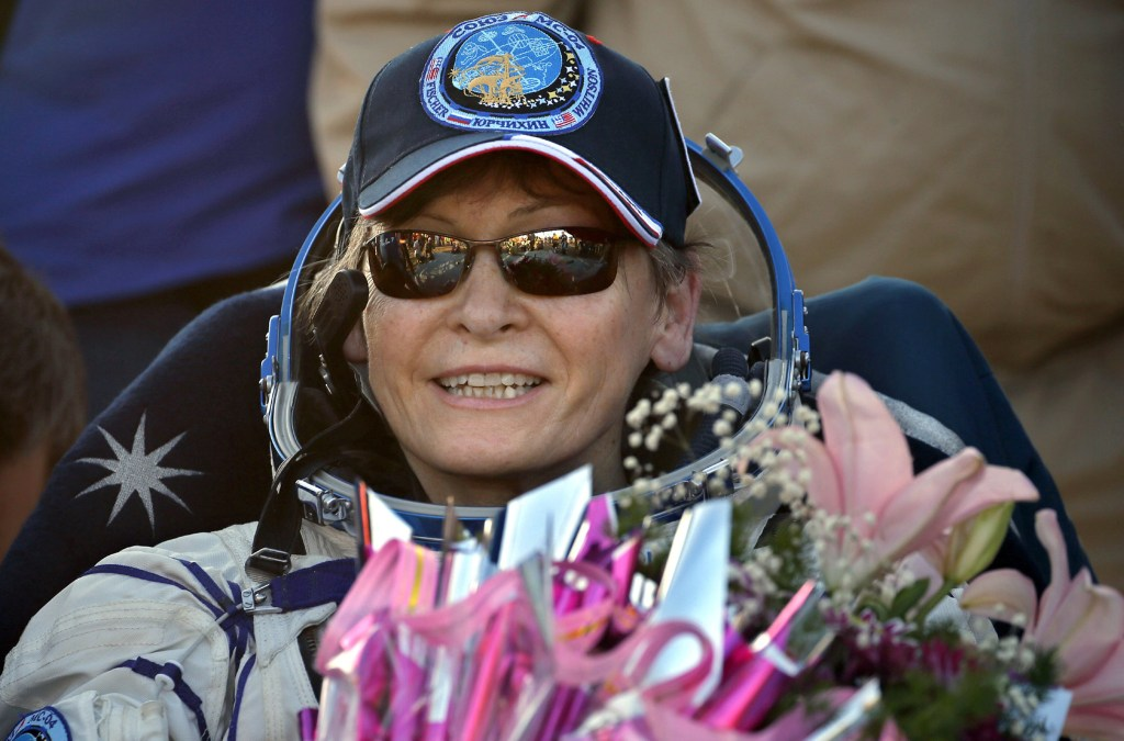 Image: U.S. astronaut Peggy Annette Whitson smiles after landing in a remote area outside the town of Jezkazgan, Kazakhstan, Sept. 3, 2017.