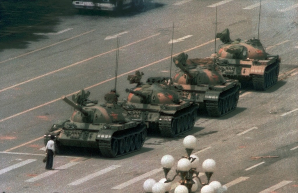 Image: A Chinese man in Tiananmen Square on June 5, 1989