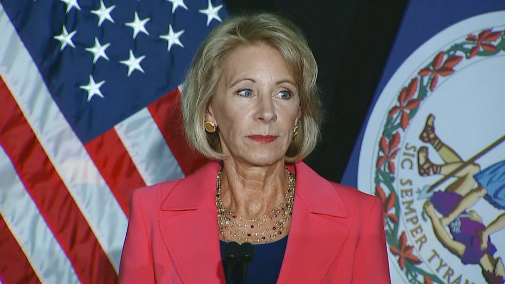 Image: Education Secretary Betsy DeVos speaks in Arlington, Virginia delivering a major policy address about Title IX, on Sept. 7, 2017