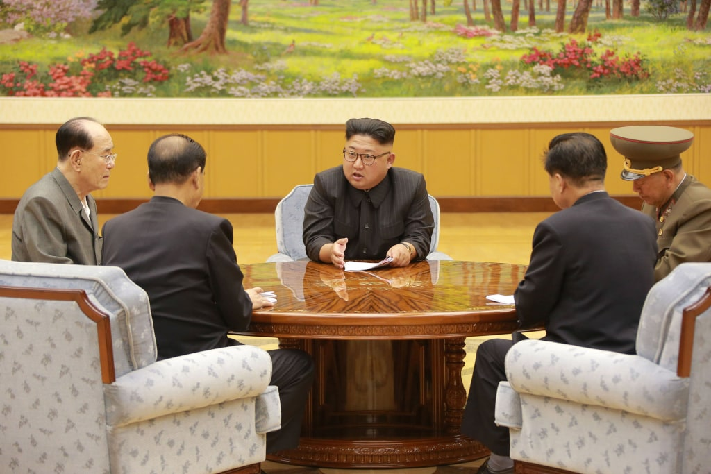 Image: North Korean leader Kim Jong Un participates in a meeting with the Presidium of the Political Bureau of the Central Committee of the Workers' Party of Korea