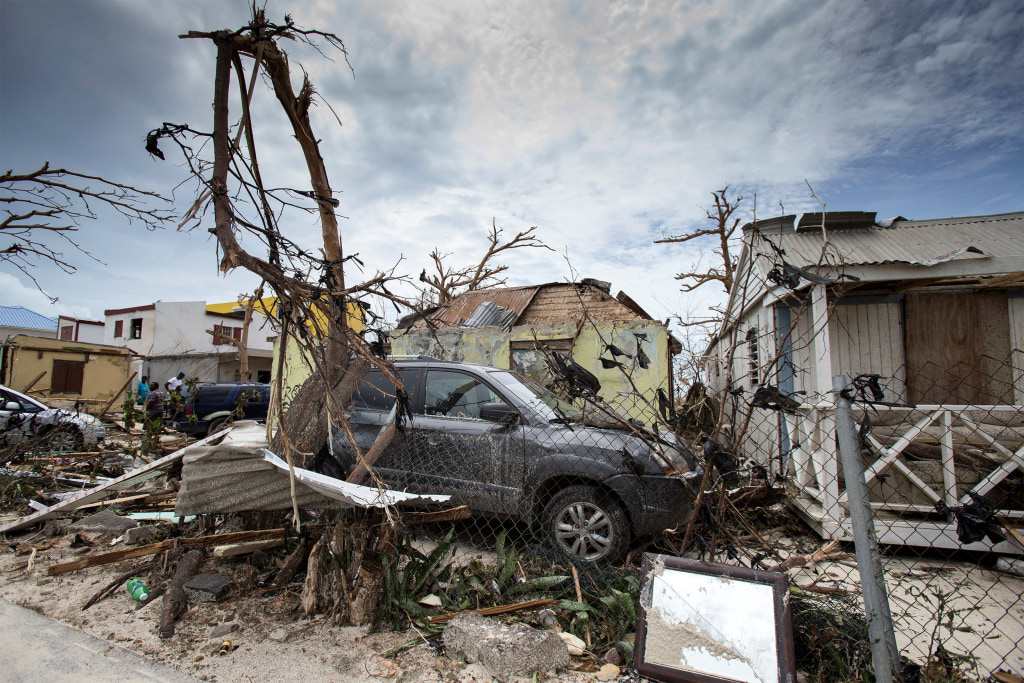 Image: View of the aftermath of Hurricane Irma on Sint Maarten Dutch part of Saint Martin island in the Carribean