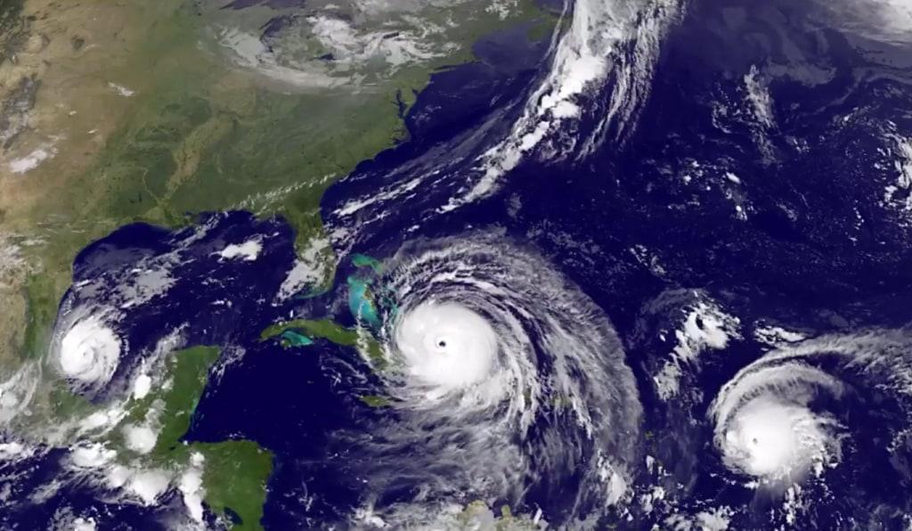 Image: Hurricanes Irma, Jose, Katia over the Caribbean