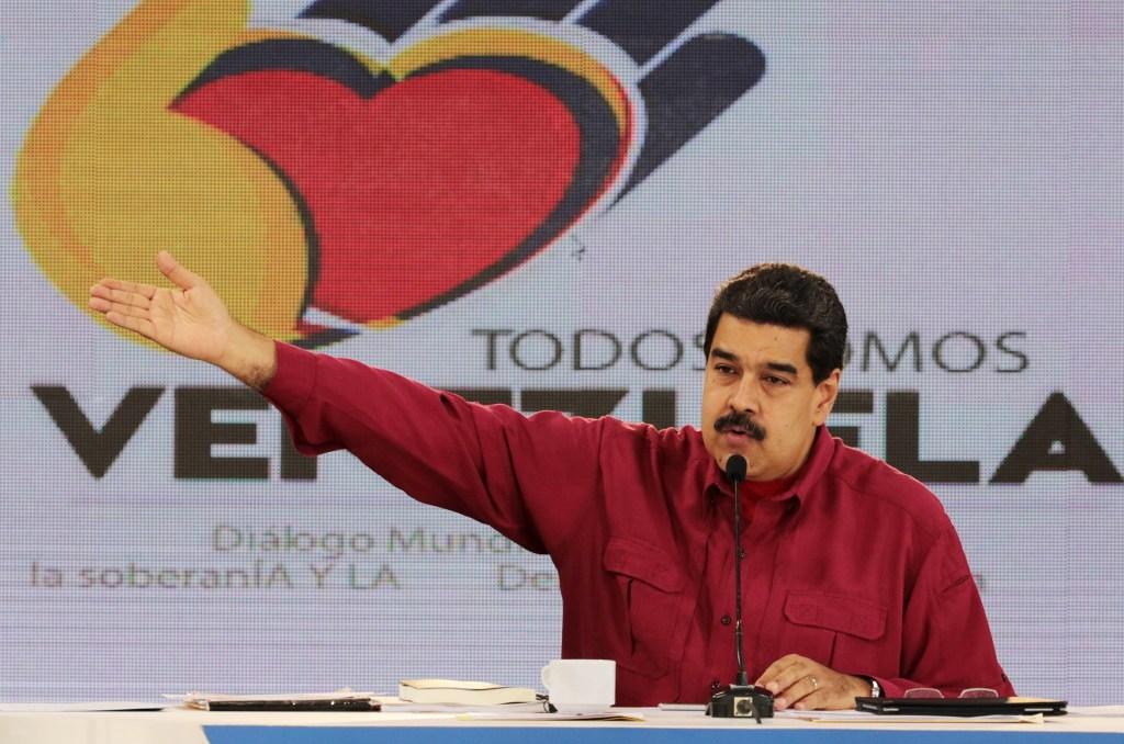 "Image: Venezuela's President Nicolas Maduro speaks during his weekly broadcast ""Los Domingos con Maduro"" (The Sundays with Maduro) in Caracas"