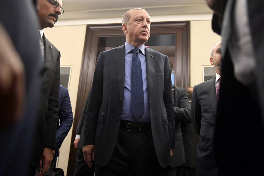 Image: Turkish President Tayyip Erdogan's leaves after an interview with Reuters Editor-in-Chief Steve Adler and Reuters Chief Correspondent Parisa Hafezi at The Peninsula hotel on the sidelines of the UN General Assembly in Manhattan, New York.