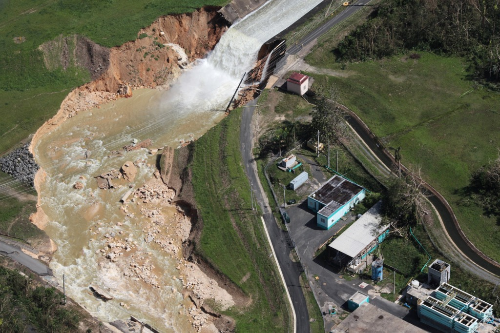 Image: An aerial view shows the damage to the Guajataca Dam