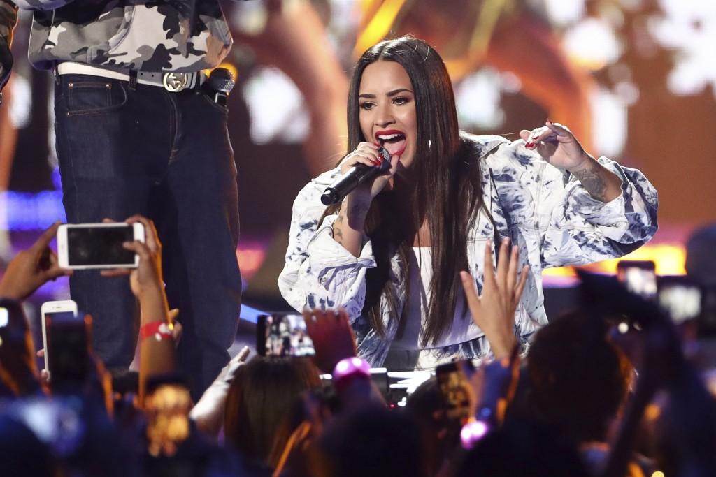Image: Demi Lovato performs at the 2017 iHeartRadio Music Festival