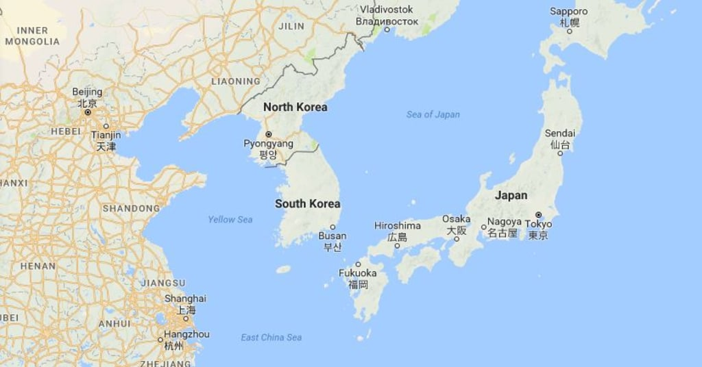 North korea may not have detected us bombers near its border image map showing north korea and its neighbors gumiabroncs Gallery
