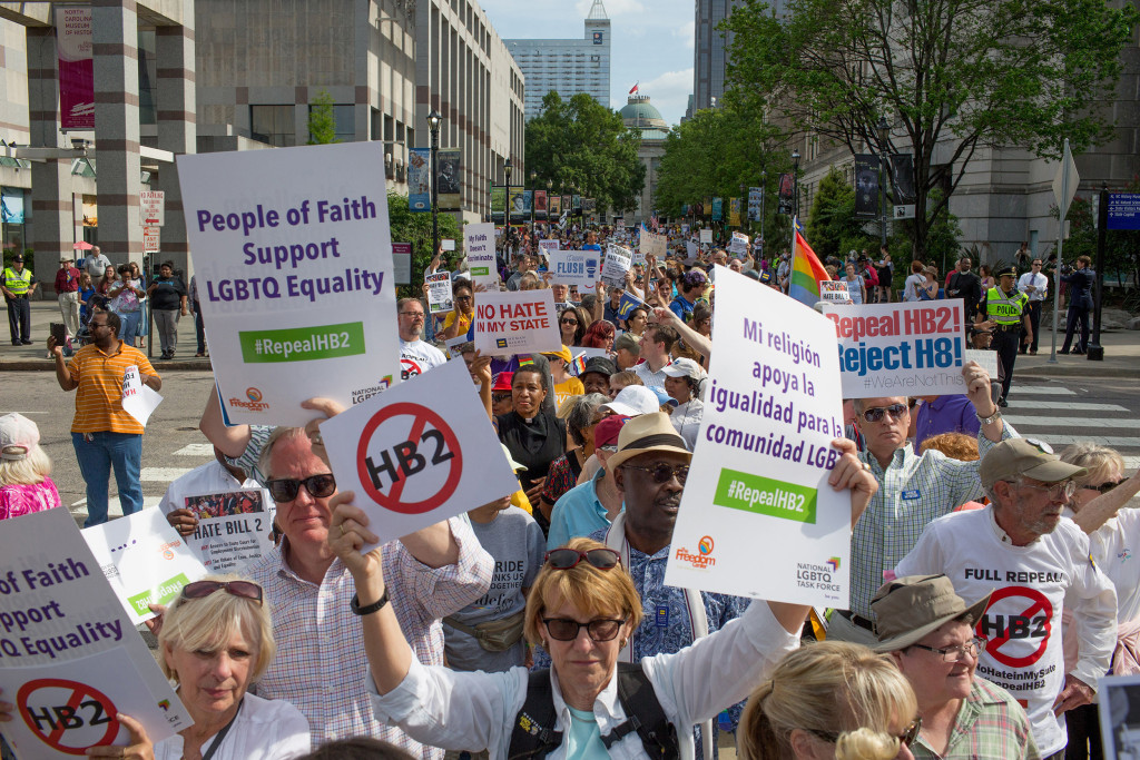 Image: Demonstrators call for the repeal of HB2 in Raleigh, North Carolina