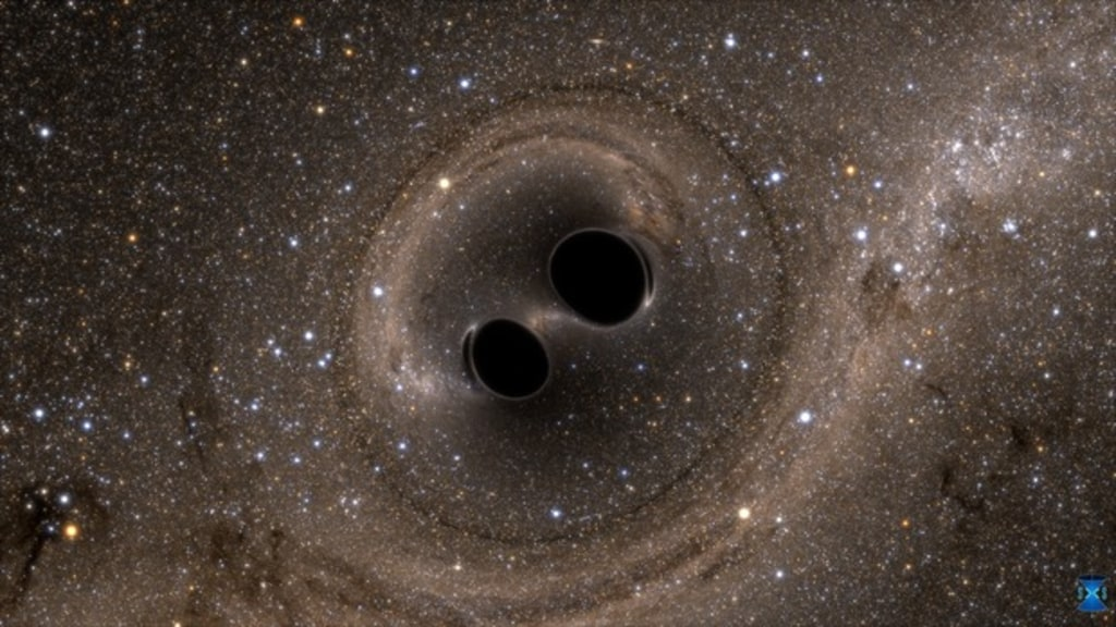 Image: The collision of two black holes holes