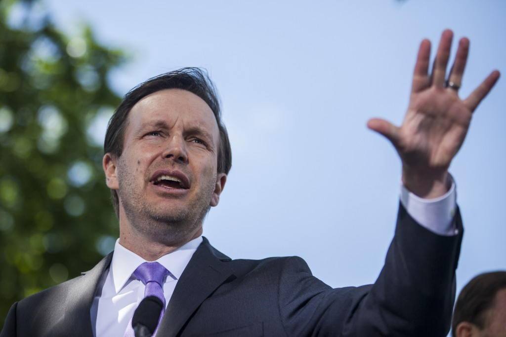 Image: Sen. Chris Murphy, D-Conn., speaks during a press conference on gun safety on Capitol Hill