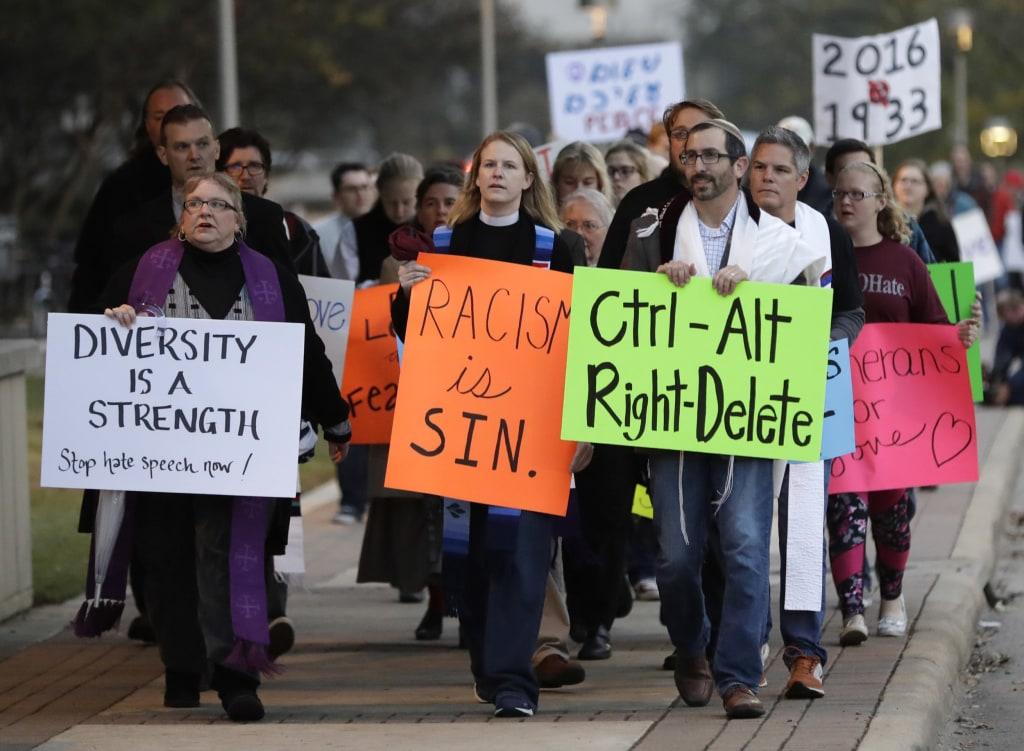 Image: Demonstrators protest Richard Spencer