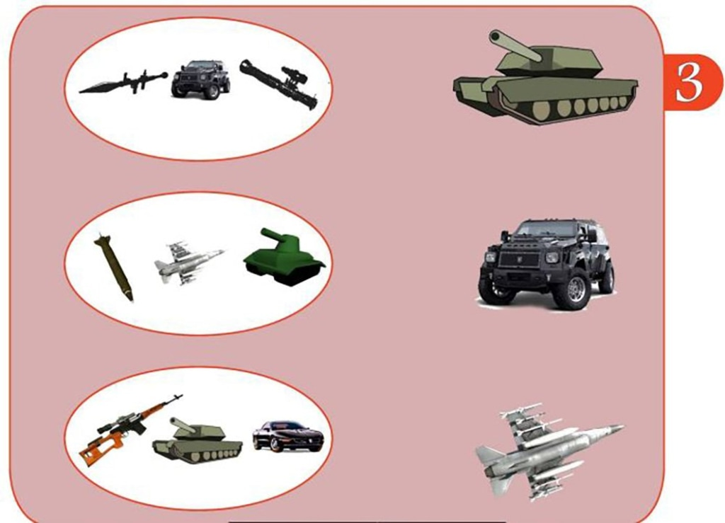 Image: Weapons grouped together in an ISIS schoolbook