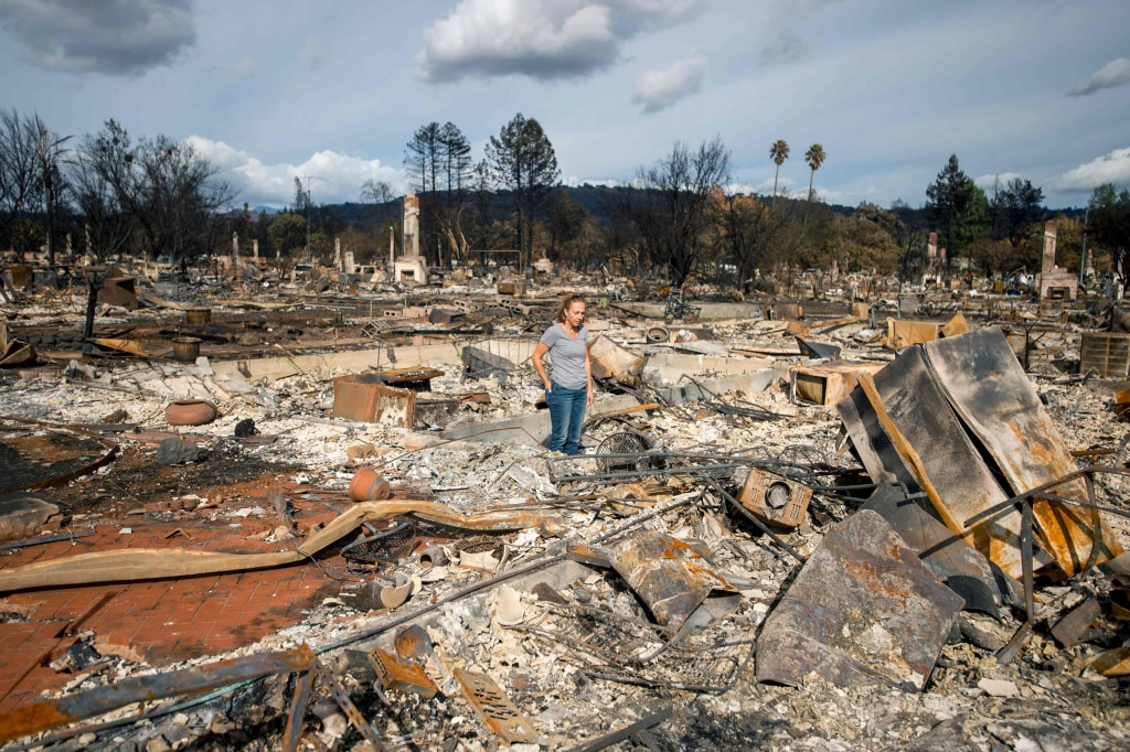 Image: Renee Johnson stands in the middle of her burned home in the Coffey Park area of Santa Rosa