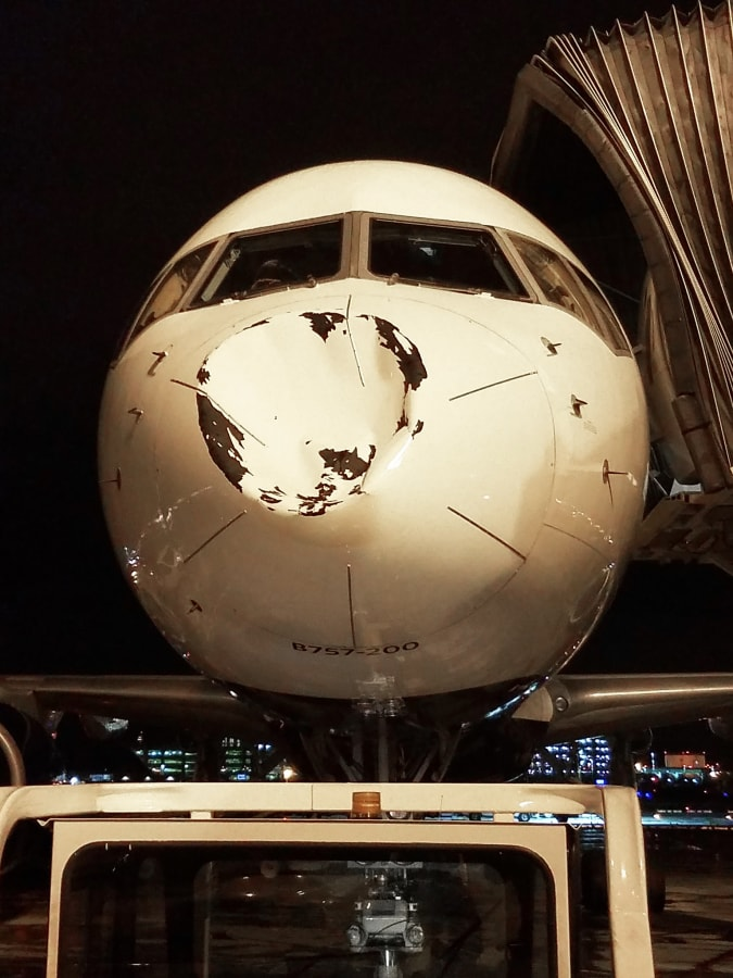 Image: The front of the Delta plane that was damaged on descent to Chicago-Midway Airport from Minneapolis on Oct. 27, 2017.
